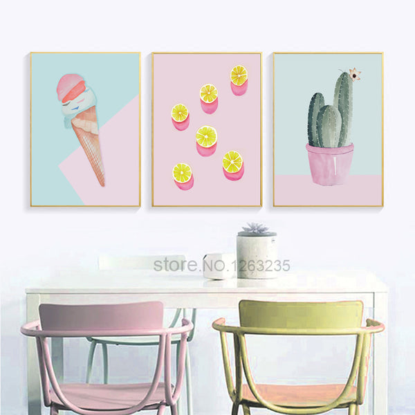 Cute Cactus Wall Pictures For Living Room Ice Cream Cartoon Nordic Poster Cuadros Nursery Nordic Style Kids Decoration Unframed