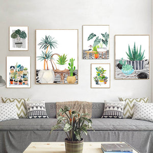 Succulents Potted Plants Cactus Nordic Poster Cuadros Decoracion Wall Pictures For Living Room Wall Art Canvas Painting Unframed