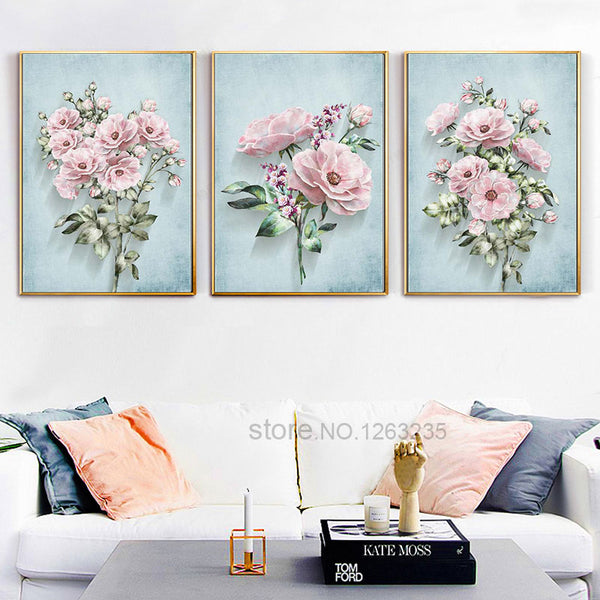 Pink Classical Flowers Nordic Poster Wall Art Canvas Painting Plant Posters And Prints Wall Pictures For Living Room Unframed