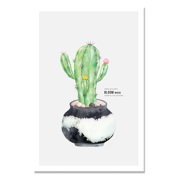 Potted Plants Cactus Flower Posters Wall Art Canvas Painting Nordic Poster Picture Canvas Pictures For Living Room Unframed