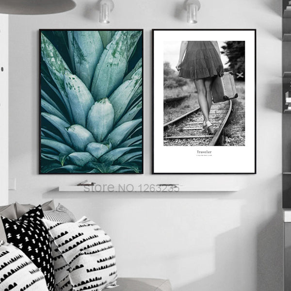 Nordic Poster Modern Pineapple Leaf Wall Art Canvas Painting Picture Posters And Prints Wall Pictures For Living Room Unframed