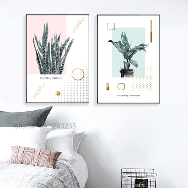 Green Plants Long Leaf Posters And Prints Nordic Poster Wall Art Canvas Painting Wall Pictures For Living Room Cuadros Unframed