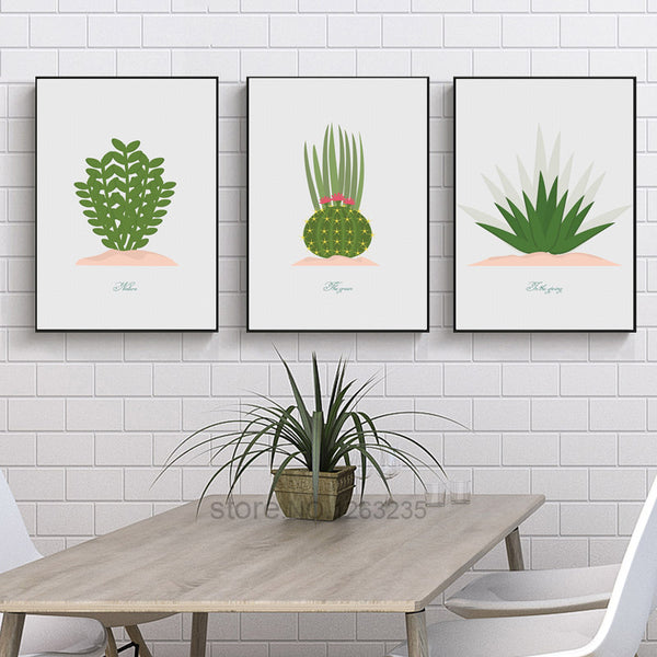 Modern Green Cactus Flower Wall Art Canvas Painting Potted Plants Nordic Poster Picture Wall Pictures For Living Room Unframed