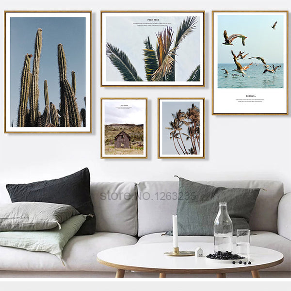 Coconut Tree Cactus Leaf Nordic Poster Wall Art Canvas Painting Posters Prints Picture Wall Pictures For Living Room Unframed
