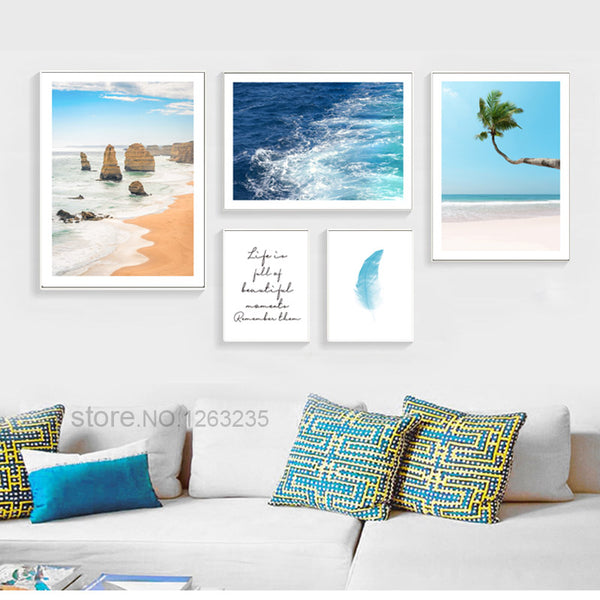 Blue Sea Water Nordic Poster Coconut Tree Wall Art Canvas Painting Seascape Wall Pictures For Living Room Cuadros Life Unframed