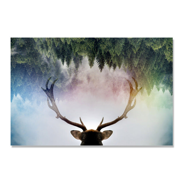 Elk Paintings Forest Nordic Poster Cuadros Decoracion Wall Art Canvas Painting Picture Wall Pictures For Living Room Unframed
