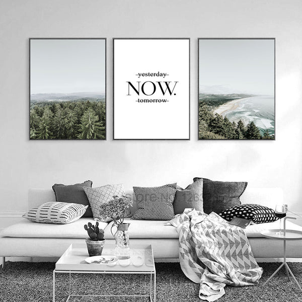 Now Sea Wall Art Canvas Painting Forest Posters And Prints Nordic Poster Wall Pictures For Living Room Wall Decor Trees Unframed