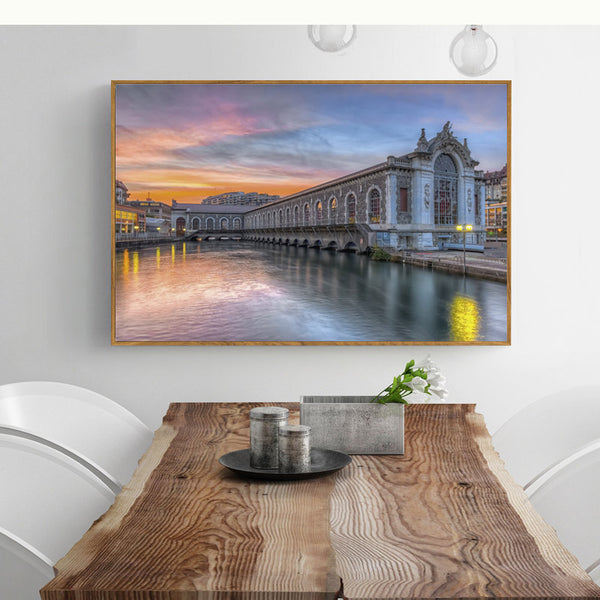 Pink Evening Louds Building Cuadros Decoracion Wall Art Canvas Painting Nordic Poster Wall Decor Posters And Prints Unframed