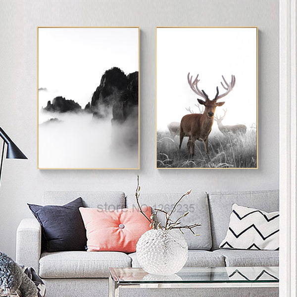 Deer Poster Picture Cuadros Decoracion Mountain Wall Art Canvas Painting Posters And Prints Nordic Poster Wall Decor Unframed