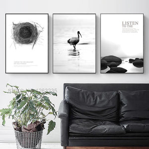 Flamingos Nordic Poster Nest Wall Art Canvas Painting Posters And Prints Wall Decor Stone Wall Pictures For Living Room Unframed