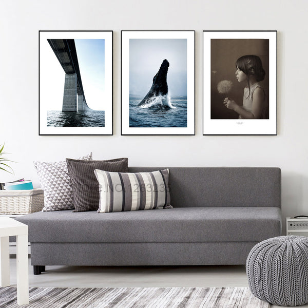 Posters And Prints Wall Art Canvas Painting Bridge Nordic Poster Seawater Wall Pictures For Living Room Cuadros Decor Unframed