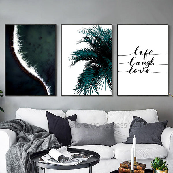 Seawater Leaf Word Nordic Poster Wall Art Canvas Painting Cuadros Wall Pictures For Living Room Decoracion Home Picture Unframed