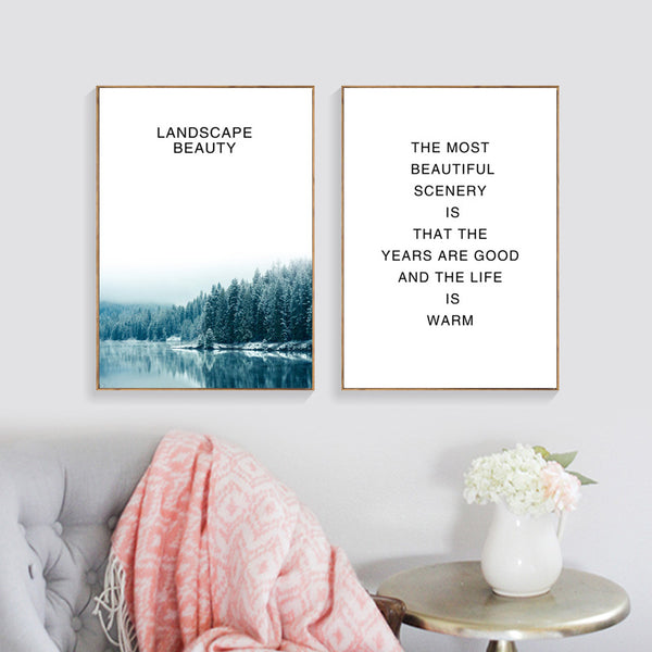Seawater Forest Nordic Poster Word Posters And Prints Wall Art Canvas Painting Wall Pictures For Living Room Cuadros Unframed