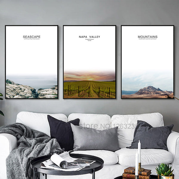 Wheat Fields Beach Forest Wall Art Canvas Painting Mountain Farm Nordic Poster Picture Wall Pictures For Living Room Unframed