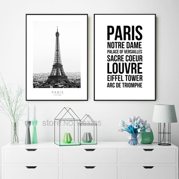 Paris Cuadros Decoration Tower Wall Pictures For Living Room Louvre Nordic Poster Wall Art Canvas Painting Unframed
