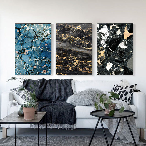 Marble Nordic Poster Wall Art Canvas Painting Posters And Prints Abstract Lines Wall Pictures For Living Room Geometry Unframed