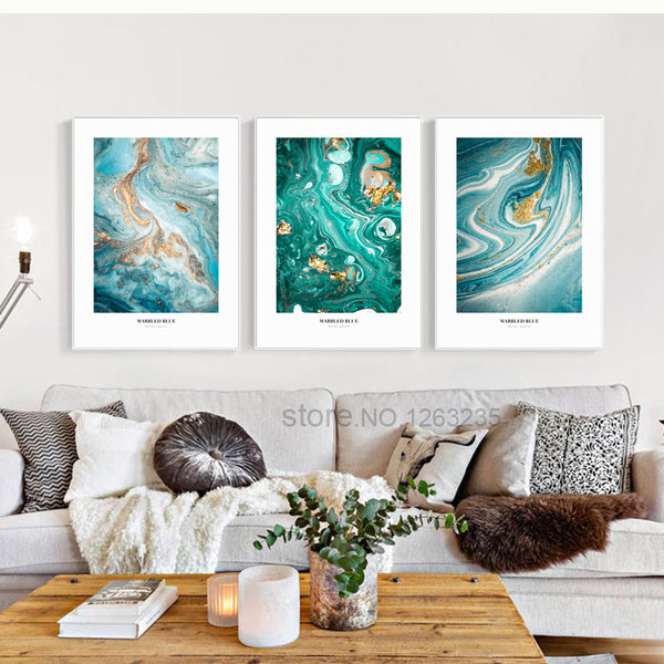 Abstract Marbled Blue Lines Nordic Poster Wall Art Canvas Painting Cuadros Quadro Wall Pictures For Living Room Picture Unframed