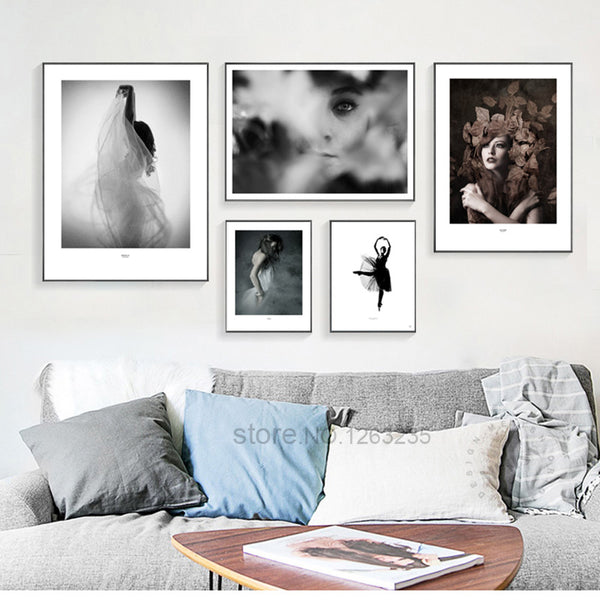 Ballet Woman Abstract Lace Leaf Nordic Poster Wall Art Canvas Painting Posters Picture Wall Pictures For Living Room Unframed