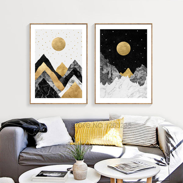Golden Yellow Moon Poster Stars Picture Cuadros Posters And Prints Wall Art Canvas Painting Nordic Poster Wall Decor Unframed
