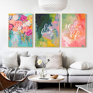 Abstract Watercolor Nordic Poster Flowers Wall Art Canvas Painting Posters And Prints Wall Pictures For Living Room Unframed