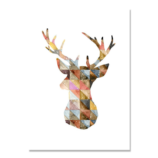 Abstract Deer Elk Geometry Wall Pictures For Living Room Nordic Poster Posters And Prints Wall Art Canvas Painting Unframed