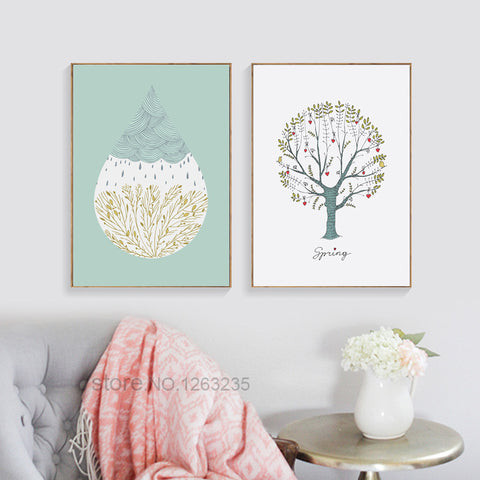 Modern Simple Tree Minimalist Picture Nordic Poster Wall Art Canvas Painting Wall Pictures For Living Room Cuadros Unframed