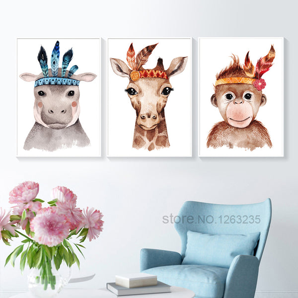 Animals Nordic Poster Feather Wall Art Canvas Painting Giraffe Monkey Wall Pictures For Living Room Cuadros Decoracion Unframed