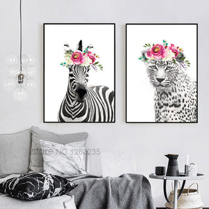 Grey Tiger Zebra Nordic Poster Cuadros Decoracion Nordic Style Kids Decoration Animal Flowers Wall Art Canvas Painting Unframed