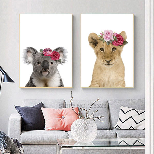 Cute Lion Nordic Poster Koala Cuadros Decoracion Nordic Style Kids Decoration Animal Flowers Wall Art Canvas Painting Unframed