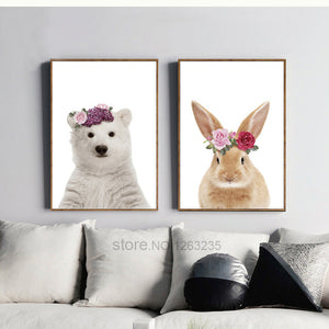 Cute Rabbit Cuadros Decoracion Bear Wall Art Canvas Painting Nordic Poster Animals Flowers Nordic Style Kids Decoration Unframed
