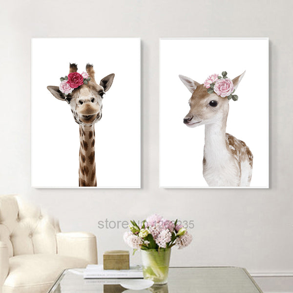 Cute Zebra Nordic Poster Deer Cuadros Decoracion Nordic Style Kids Decoration Animal Flowers Wall Art Canvas Painting Unframed