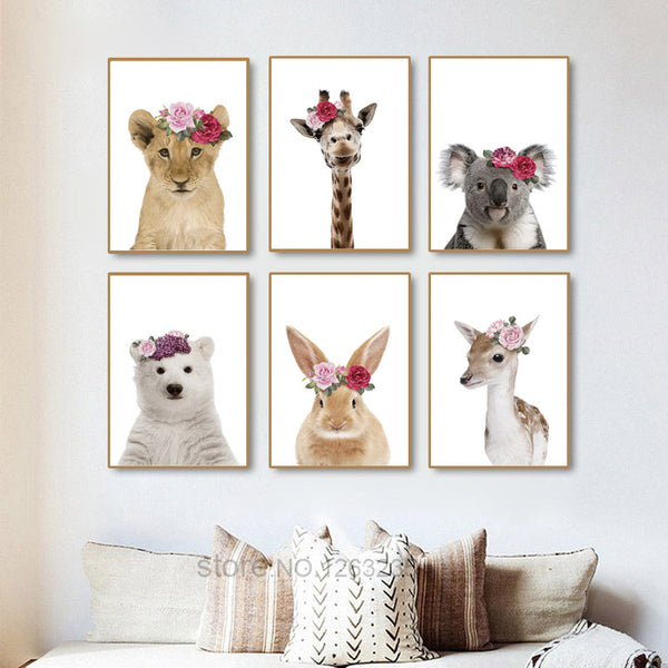 Animal Flower Nordic Poster Rabbit Cuadros Decoracion Wall Pictures For Living Room Giraffe Wall Art Canvas Painting Unframed