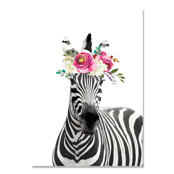 Tiger Nordic Poster Giraffe Zebra Elephant Wall Art Canvas Painting Animal Flower Wall Pictures For Living Room Cuadros Unframed