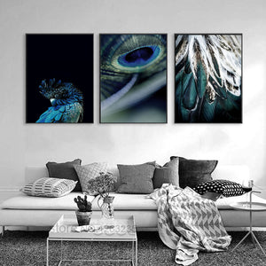 Peacock Feather Animal Posters And Prints Wall Art Canvas Painting Nodic Poster Picture Wall Pictures For Living Room Unframed