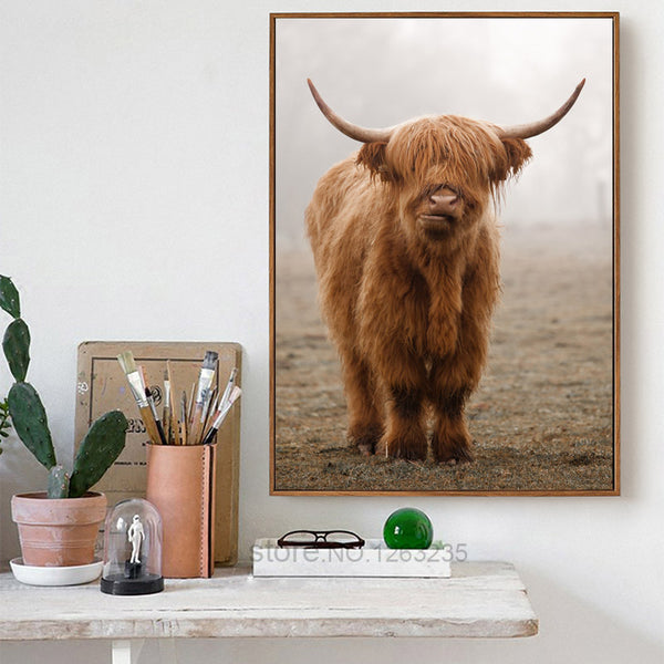 Brown Cow Poster Picture Living Room Cuadros Decoracion Home Posters Wall Art Canvas Painting Nordic Poster Wall Decor Unframed