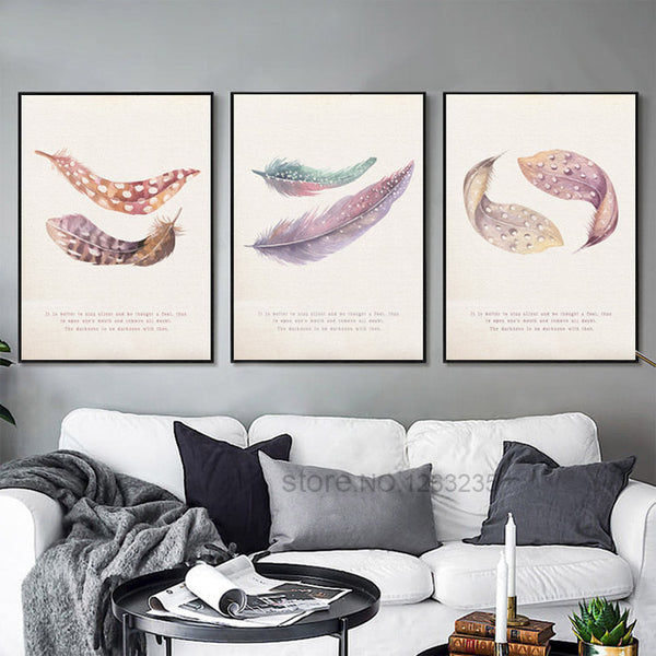 Colorful Feather Wall Art Canvas Painting Posters And Prints Nordic Poster Picture Wall Pictures For Living Room Unframed