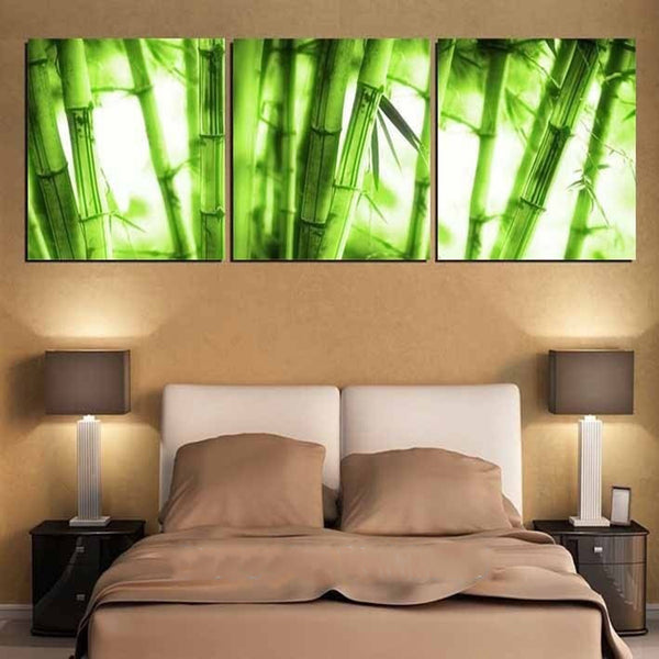 3 Piece NO Framed Canvas Photo Prints Green Bamboo Forest Artwork Giclee Paintings Home Decor Canvas Wall Art Fashion Paintings