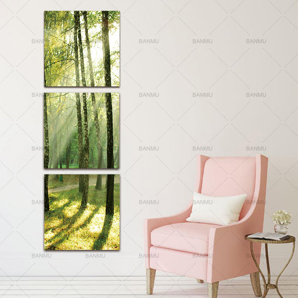 Canvas painting wall art  Decoracion for living room  3 Pcs/set Canvas Wall Paintings Sunshine poster  On The Trees Prints