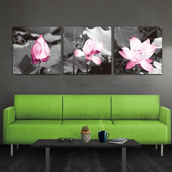canvas painting wall Gorgeous Pink Lotus Black And White Canvas Art Print on Canvas set of 3 Modern Home Wall Painting Decor Art