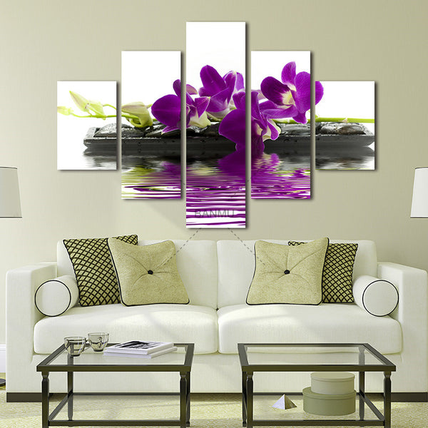 5 Panels Beautiful Purple Orchids Canvas Wall Painting Art Flowers On Black Stones for Home Decor Modern Artwork for Decor