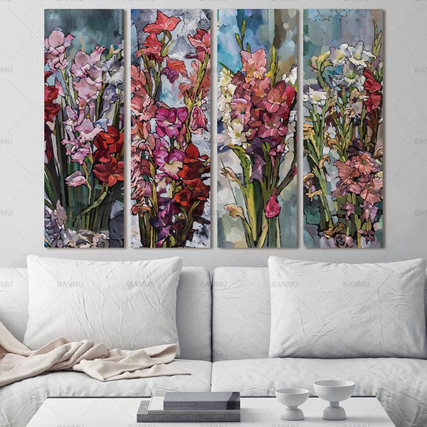 Picture poster  Wall Art Canvas Painting  Flower Painting Wall 3 Panel Wall art pictures Art Decorative Modular Picture no frame