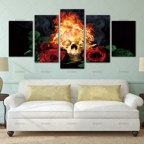 Wall Pictures Canvas Painting Decoracion prints on Fire skull & red rose Home Decor  Wall Painting For Living Room No Frame