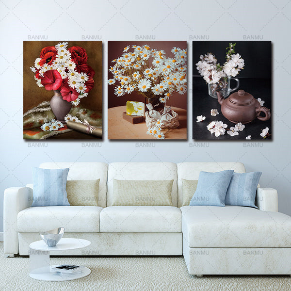 Picture print and poster Canvas Prints flower art wall  Pictures 3 Panel Wall Art Canvas Painting elegant print  Home Decoration