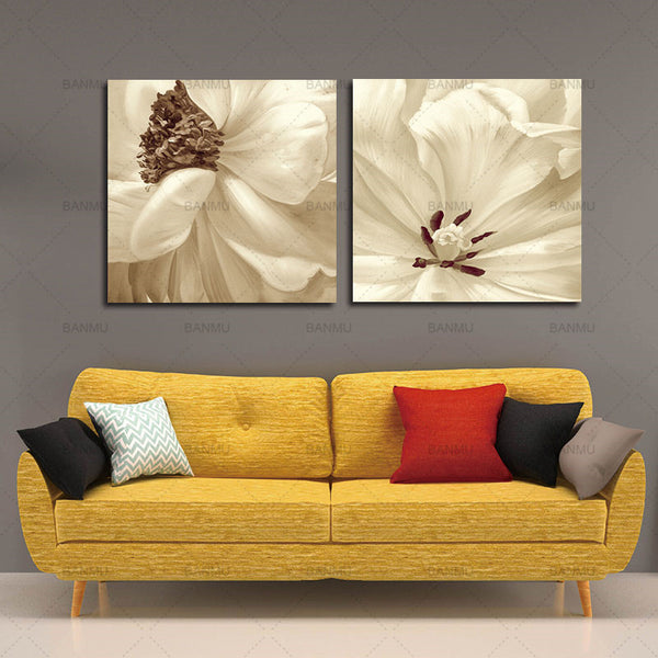 Modern canvas art  Abstract Oil Painting White Flower Vintage Handpainted Painting Wall Art Picture For Wedding Home Decoration