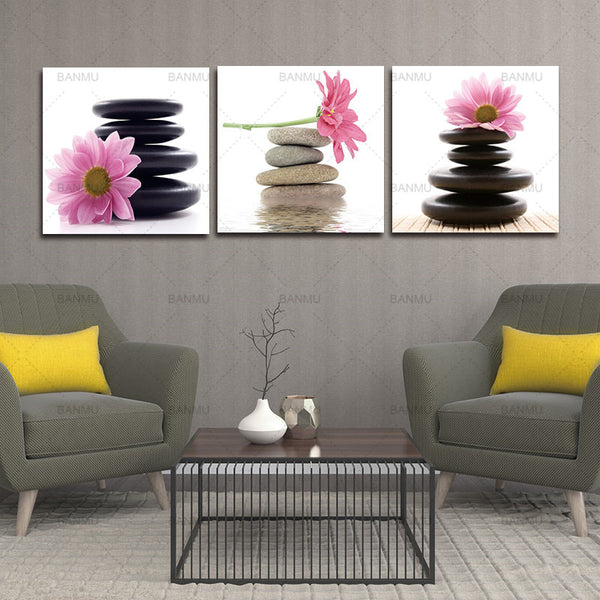 3 Panel  Picture Wall Art Picture Home Decoration Living Room Large Modern Canvas Oil Painting Art Pink Lotus Flowers And Stone