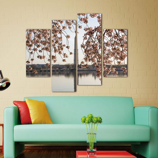 4 Panel Wall Art Pink Cherry Blossoms And Washington Monument Lake Tower Painting Pictures Print On Canvas Landscape Painting