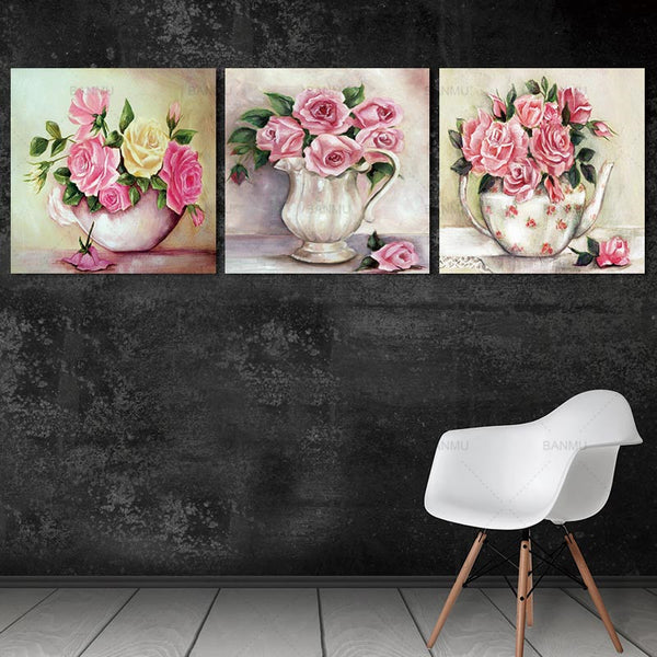 modern Canvas Prints flower art wall  Pictures 3 Panel Wall Art Canvas Painting elegant print  Home Decoration For Living Room