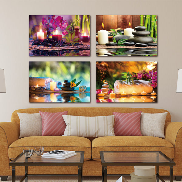 4 Pcs Flower Stone Candle Scenery Picture Printed Painting Modern Canvas Wall Art for Home Decor Tableau Peinture Sur Toile