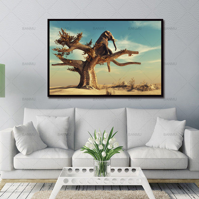 Canvas painting morden print picture decoration for home Interesting elephant seat trees no frame  animal wall artwork