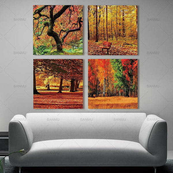 canvas painting wall art picture printed On Canvas Orange Tree Picture Living Room Decor Landscape Painting No Frame